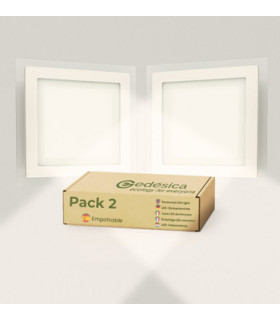 Pack X2 downlight LED 18W cristal cuadrado blanco 3000K