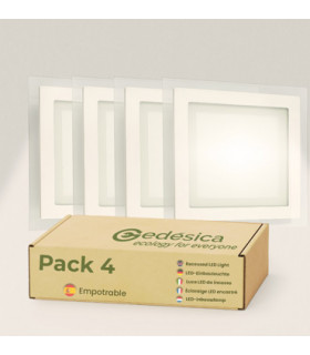Pack X4 downlight LED 18W cristal cuadrado blanco 3000K